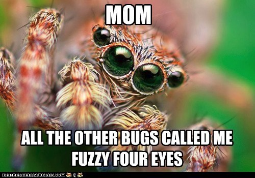 MOM ALL THE OTHER BUGS CALLED ME FUZZY FOUR EYES