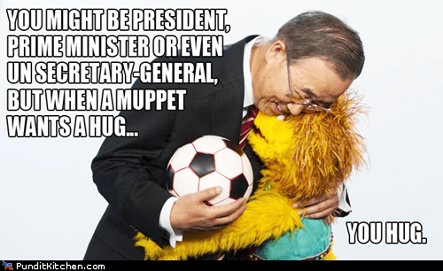 Ban Ki Moon hug muppet secretary general of the UN Sesame Street Ban Ki-moon