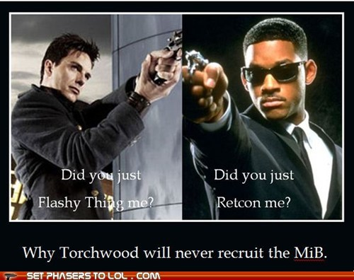 Torchwood men in black will smith john barrowman agent j Captain Jack Harkness retcon flashy memory