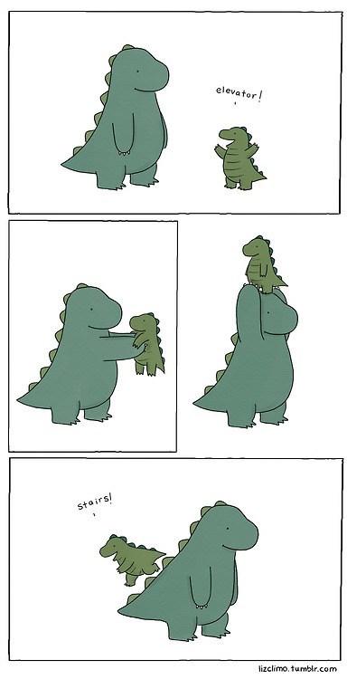 comic,dinosaurs,elevator