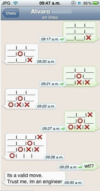 cheater engineer games tic tac toe trust me