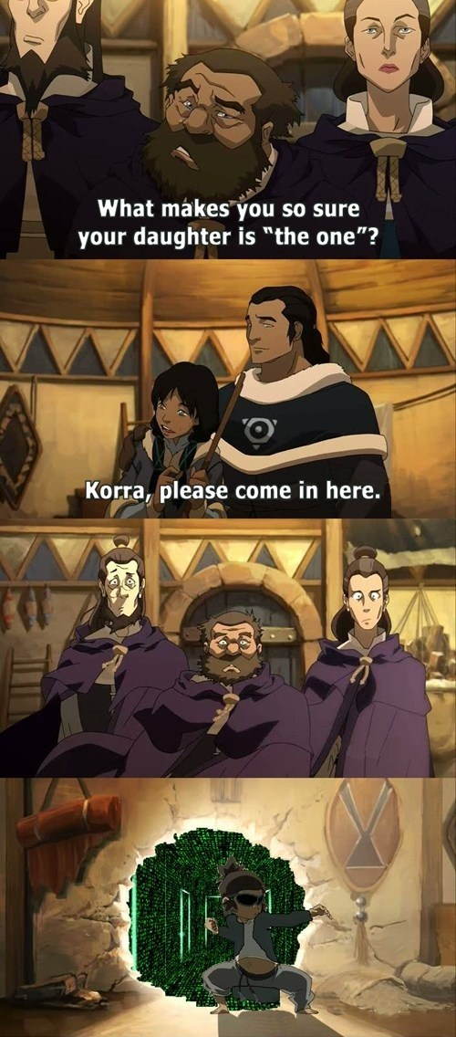 korra,cartoons,crossover,neo,the matrix,the one