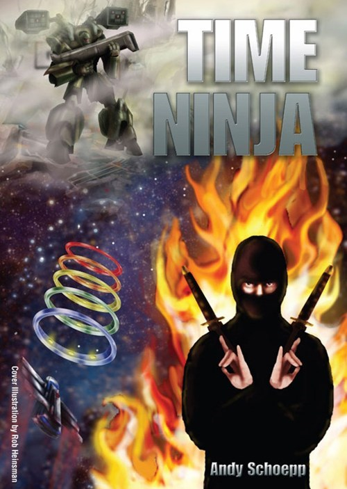 book cover,books,cover art,mech suit,ninja,science fiction,time,wtf
