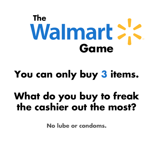 cashiers,condoms,freak out,shopping,the walmart game,Walmart