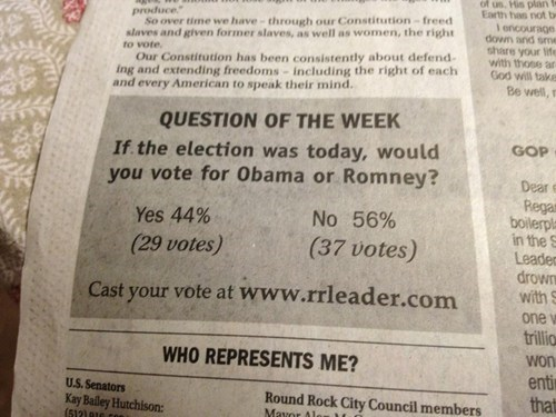 barack obama,election,election 2012,Mitt Romney,newspaper,obama,poll,Romney