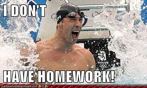 homework,Michael Phelps,olympics,school,swimming