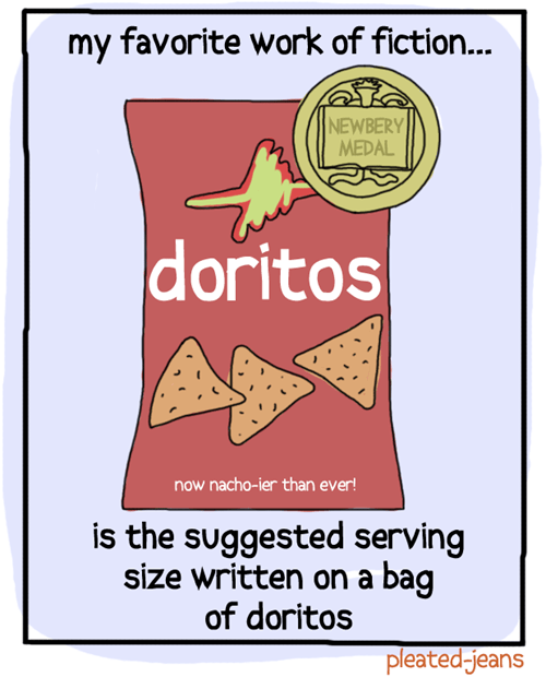 doritos,newberry medal,pleated jeans,serving size