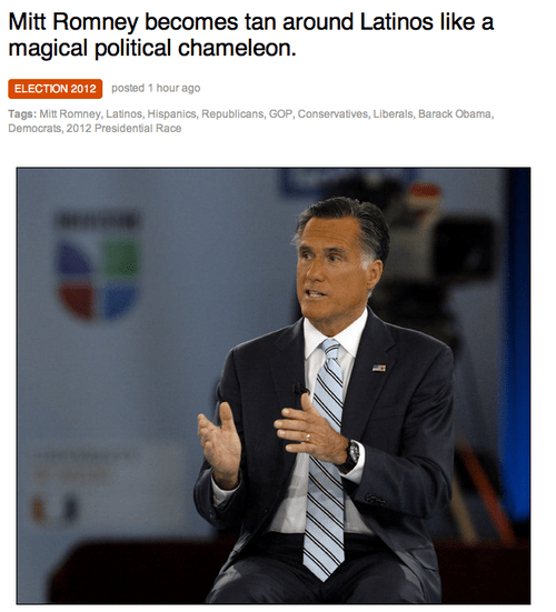 accident appearance Awkward color change Mitt Romney tan Univision