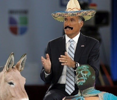 bad photoshop,brown face,exaggerating,Mexican,Mitt Romney,sombrero,tan