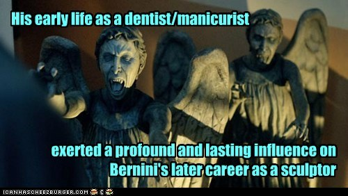 doctor who,weeping angels,dentist,manicure,bernini,art,statue