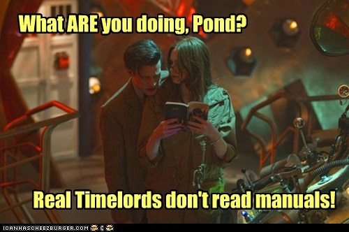 doctor who,the doctor,Matt Smith,amy pond,karen gillan,what are you doing,timelords,manuals,reading