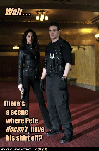 wait warehouse 13 scene pete latimer shirt joanne kelly why - 6600329728