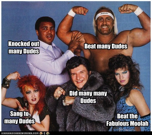 Beat many Dudes Knocked out many Dudes Sang to many Dudes Did many many Dudes Beat the Fabulous Moolah