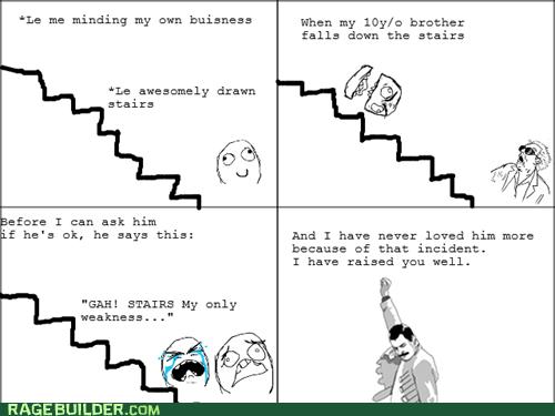 f yeah freddie,siblings,stairs