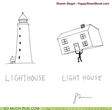 description,double meaning,house,light,lighthouse,literalism,weight