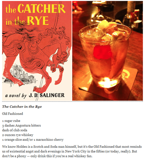 catcher in the rye,Early Morning Happy Hour,literary cocktails,old fashioned