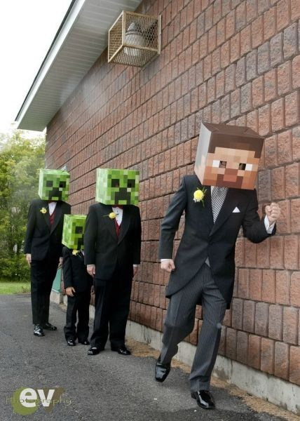 blockheads creepers Groomsmen minecraft papercraft - 6602459904