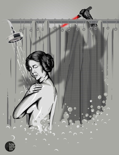 darth vader,Fan Art,lightsaber,norman bates,Princess Leia,psycho,shower scene,star wars