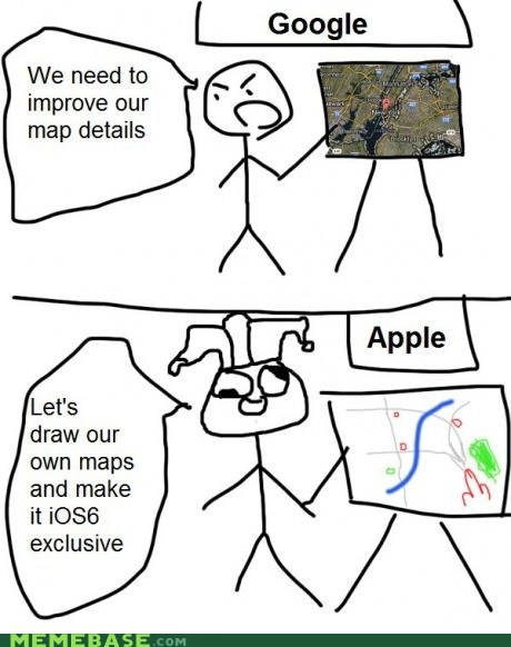 apple maps drawings google ios6