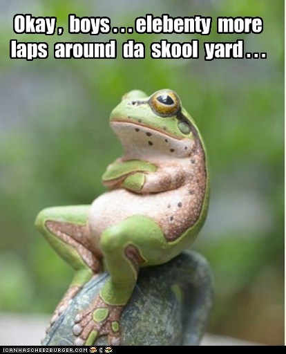 p-e teacher sitting running laps frog