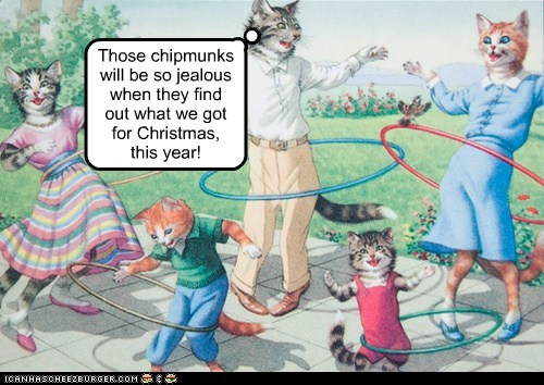 Cats christmas dance hula hoops play