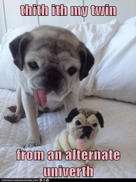 dogs,pug,tongue,alternate universe,mini me,twins,lisp