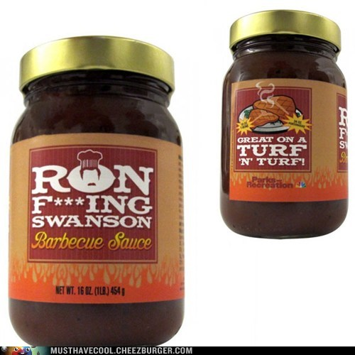 ron swanson parks and rec bbq sauce NBC TV - 6606831104
