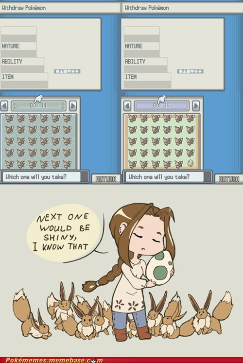 breeding,eevee,shiny,what a waste