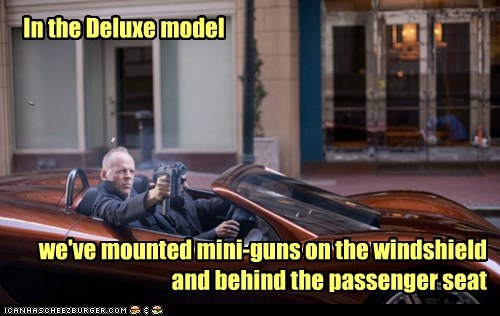 looper,deluxe model,Minigun,passenger seat,bruce willis,car,mounted,options