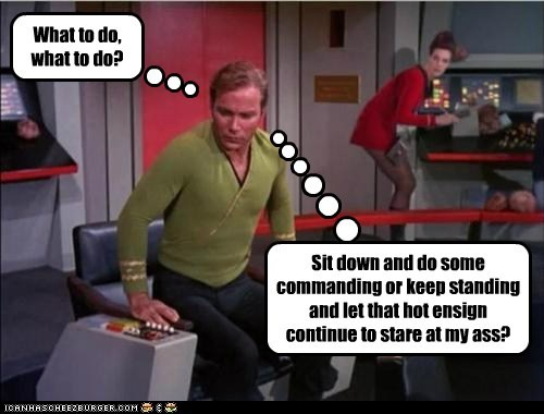 William Shatner Shatnerday Captain Kirk what to do ensign Staring dilema Star Trek - 6608526080