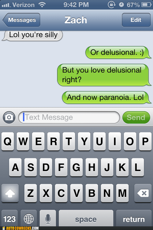 delusional iPhones paranoia progression of love