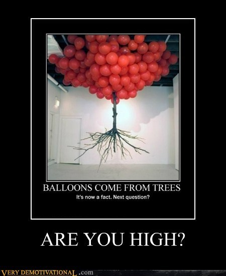 Balloons drug stuff high trees