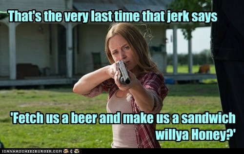 emily blunt,sara,last time,jerk,beer,gun,pointing,rude,sandwich