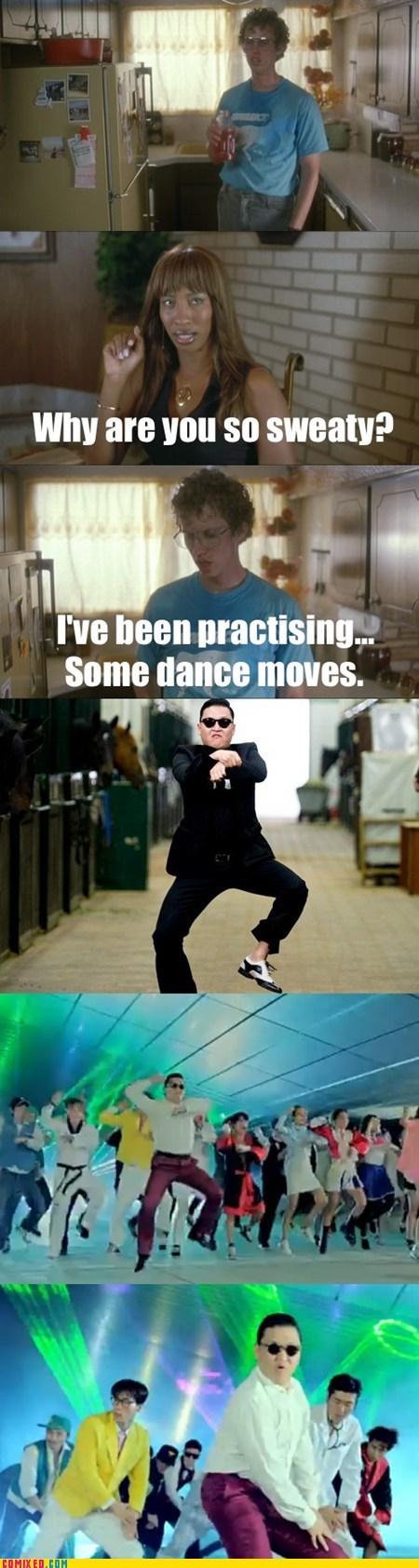 dance,gangnam style,gangnam style parody,napoleon dynamite,sweaty