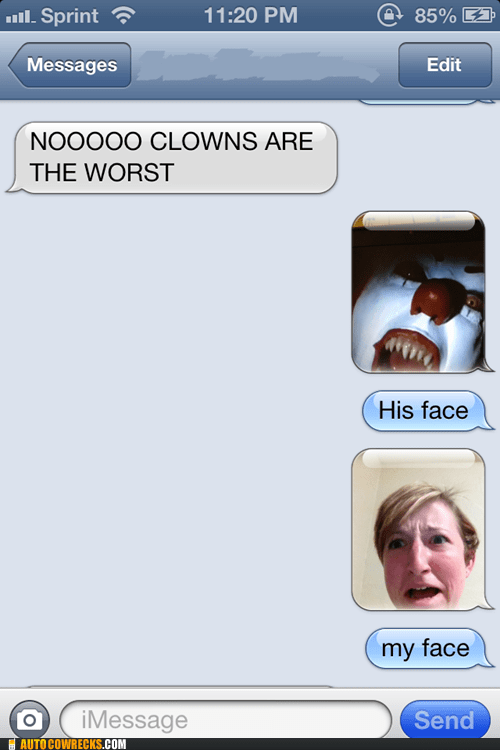clowns,not fun,scared,halloween,it,iPhones