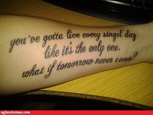 arm tattoos,lyrics,misspelled tattoos,nickelback
