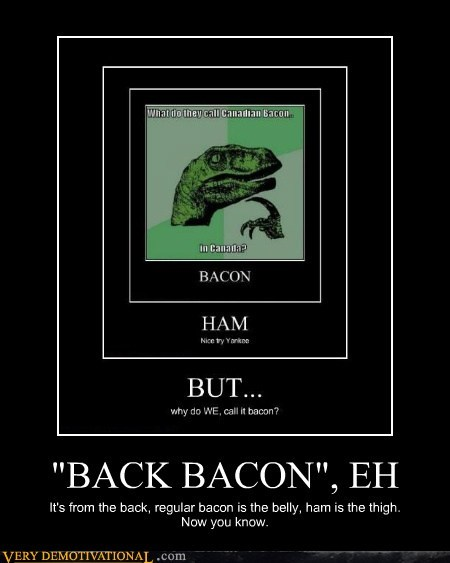 """BACK BACON"", EH It's from the back, regular bacon is the belly, ham is the thigh. Now you know."