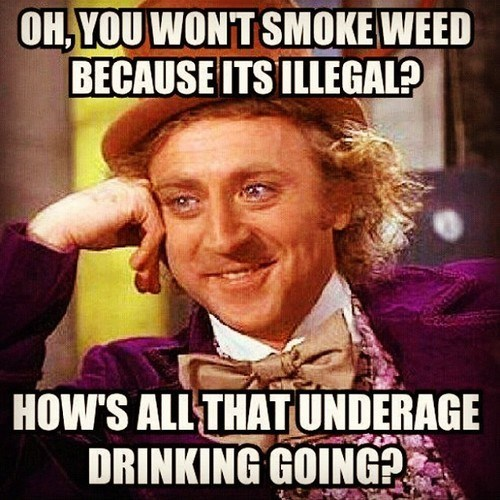 double standard,illegal,marijuana,underage drinking