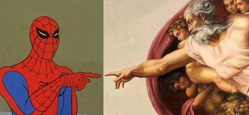 god,michelangelo,sistine chapel,Spider-Man