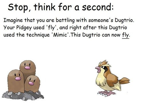 diglett wednesday,fly,mimic,pidgey