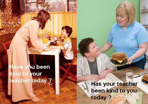 parenting,teachers,Then And Now