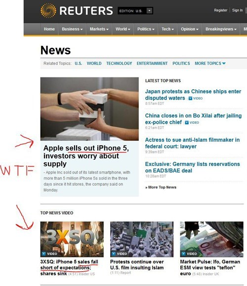 apple,headline fail,headlines,iphone,iphone 5,reuters