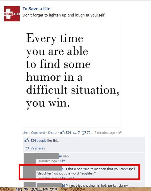 facebook laughter slaughter spelling - 6610819328