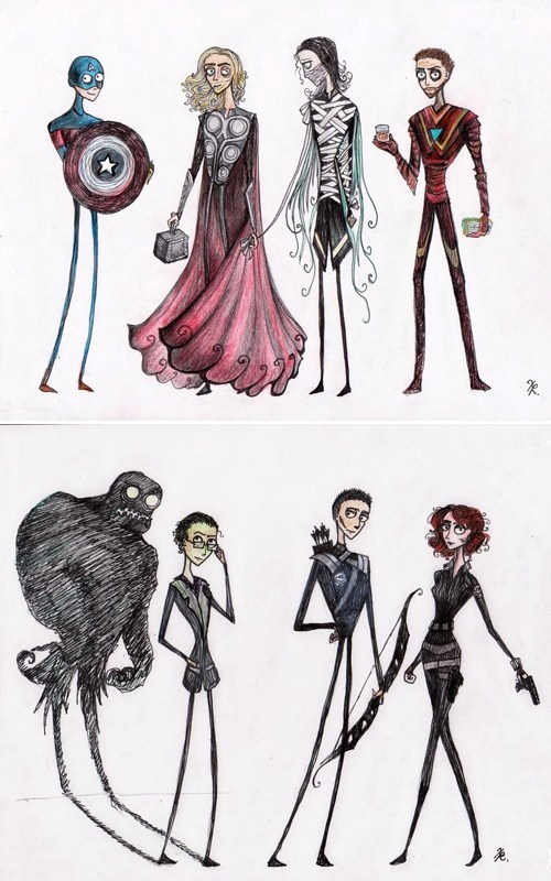 avengers,Black Widow,bruce banner,captain america,Fan Art,hawkeye,hulk,iron man,loki,Thor,tim burton,tony stark