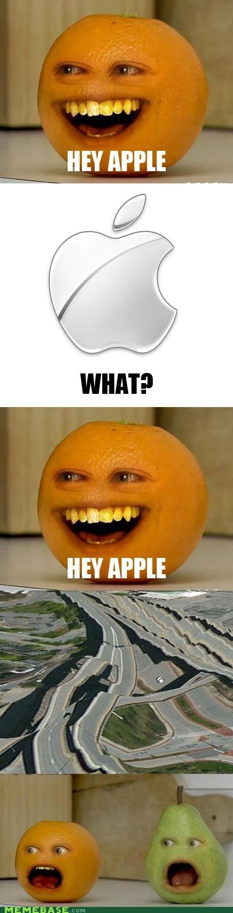 annoying orange,apple maps,hey apple,iphone 5