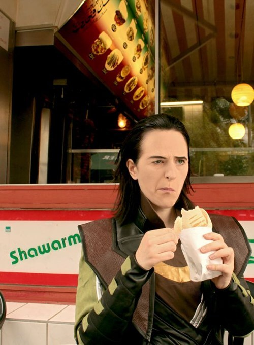 avengers,eating,Fan Art,loki,not impressed,photography,shawarma