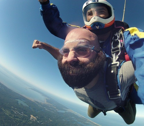 beard,facial hair,flying,skydiving,whee