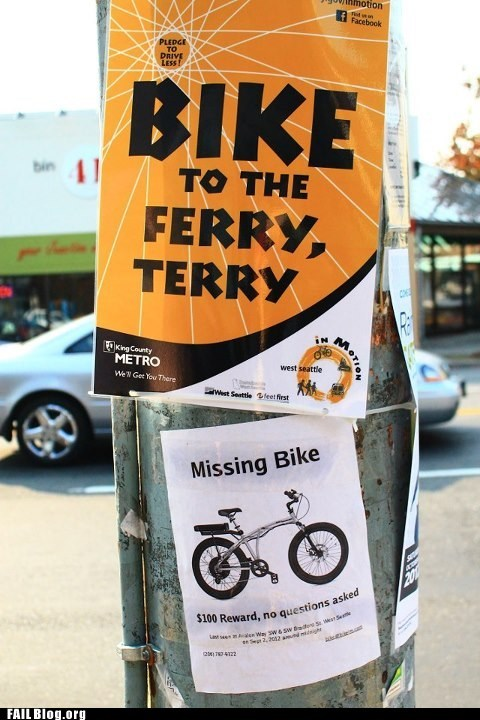 bike,ferry,stealing,theft,sign,irony