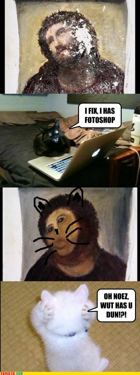 Cats cute ecce homo icanhascheezburger photoshop royalties - 6611909376