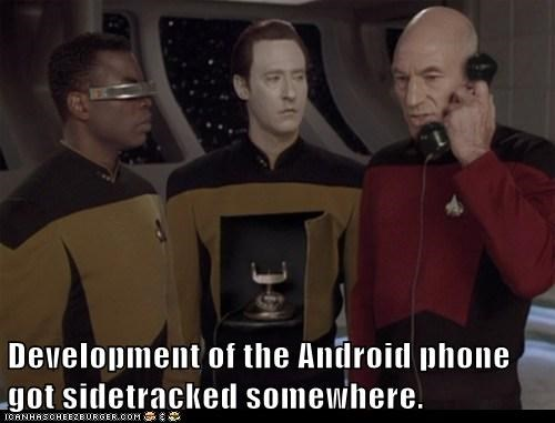 android,sidetracked,Captain Picard,phone,levar burton,the next generation,Geordi La Forge,data,Star Trek,patrick stewart